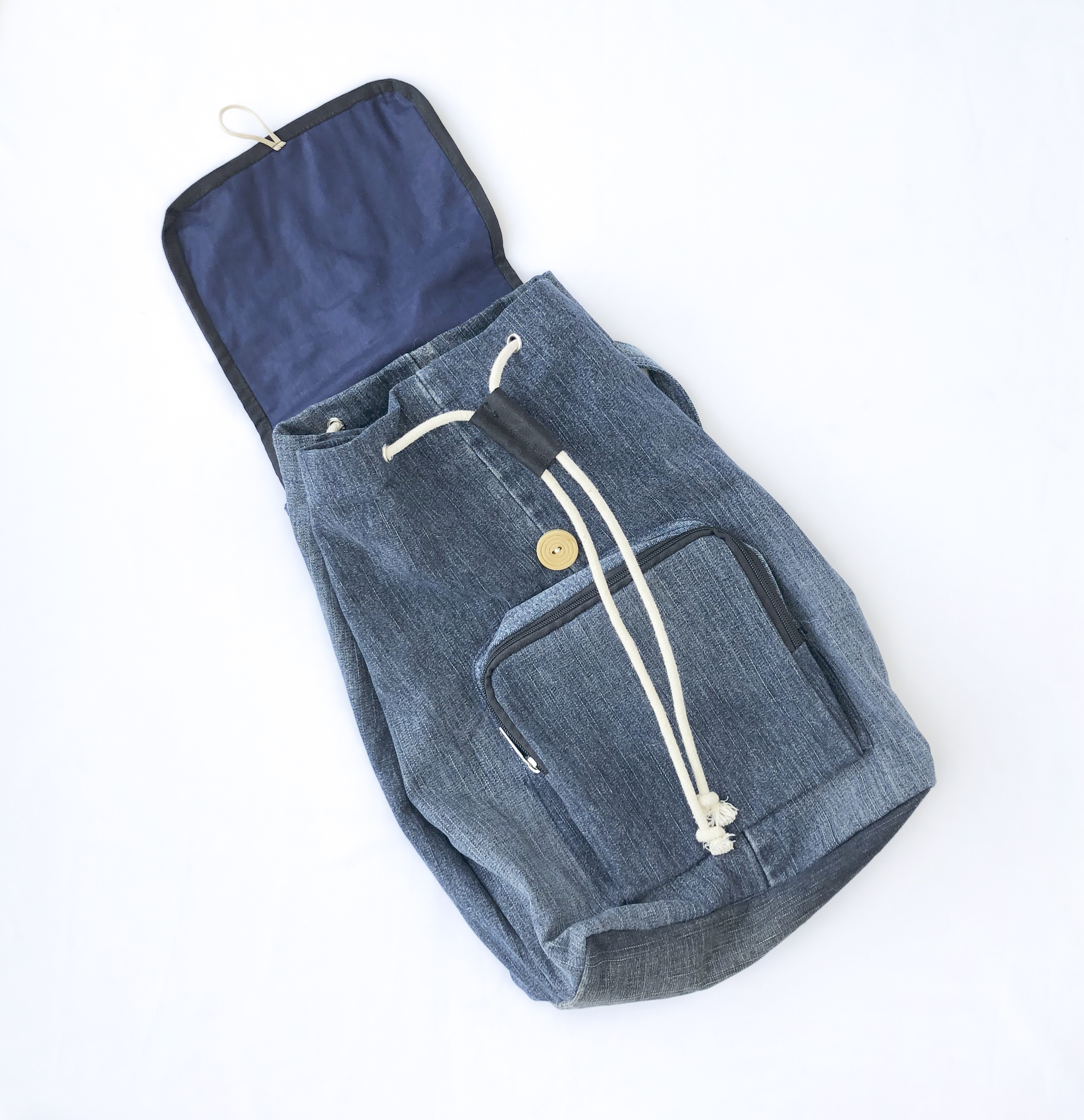 Denim Backpack With Flap Rimagined